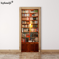 2 pcs/set Wall Stickers DIY Mural Bedroom Home Decor Poster PVC Retro Book Cabinet Waterproof Imitation 3D Door Sticker Decal FA