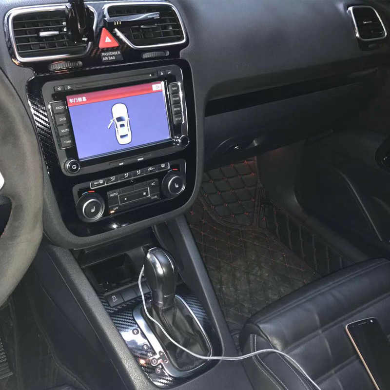 For Volkswagen VW Scirocco/EOS Interior Central Control Panel Door Handle  Carbon Fiber Stickers Decals Car styling Accessorie