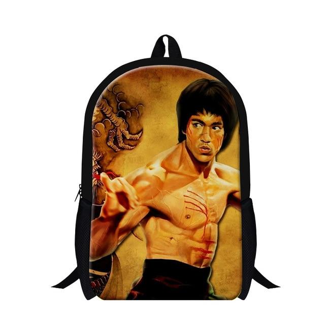 Fashion Bruce Lee Casual Men s Womens Backpack Preppy Style Student School  Bag Kids Shoulder Travel Bag Mochila Book Bags 93f1963916b4b