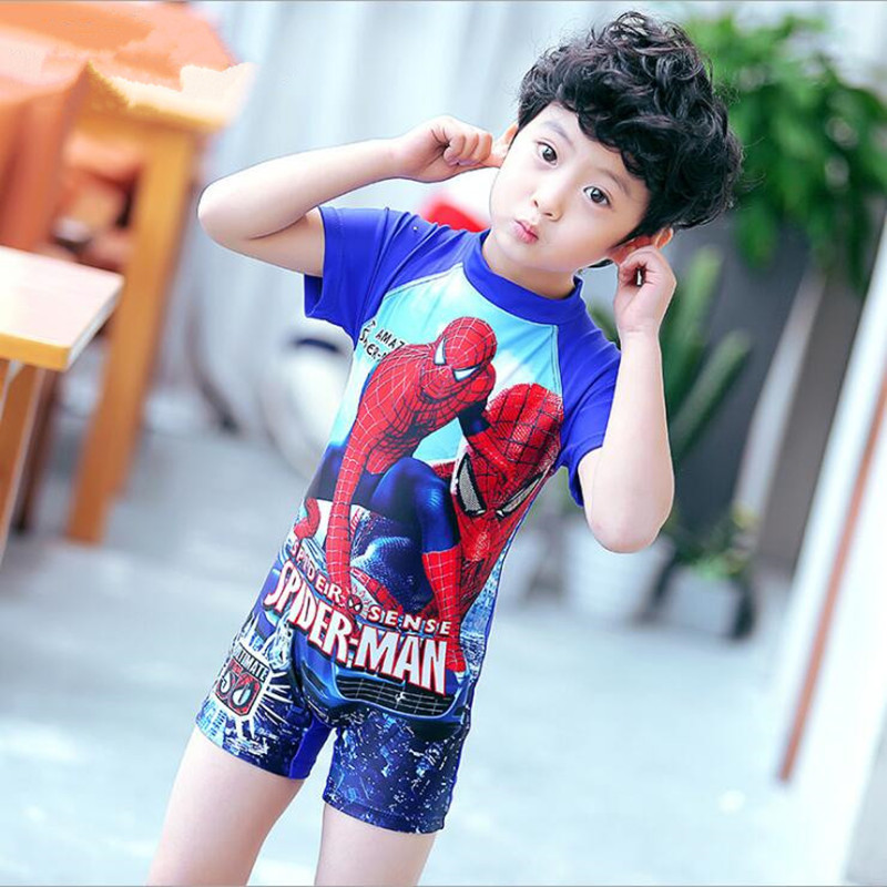 2017 Boys Swimwear Spider Man Shape Cool Style Children One Piece Swimsuit Bathing Suit Beach Wear Kids Student Wear New Style spider man style surfing clothes for 3 10y little boys kids one piece beachwear swimwear high quality children clothing