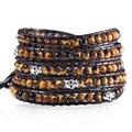 New High Quality Leather bead wrap bracelets For Men Women Fashion skull 4mm Tiger Eye Stone Handmade 5x Wraps Leather Bracelet