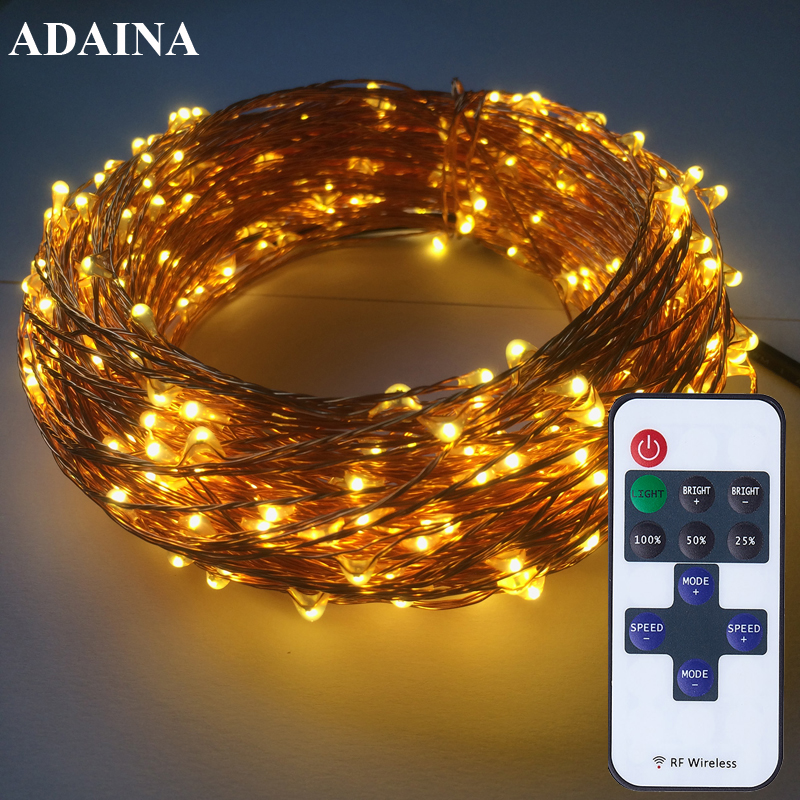 Remote Dimmer 50M 500 Leds Kobber Wire LED String Light Med Strømadapter DC 12V String Light Guirlande Lumineuse Led Exterieur