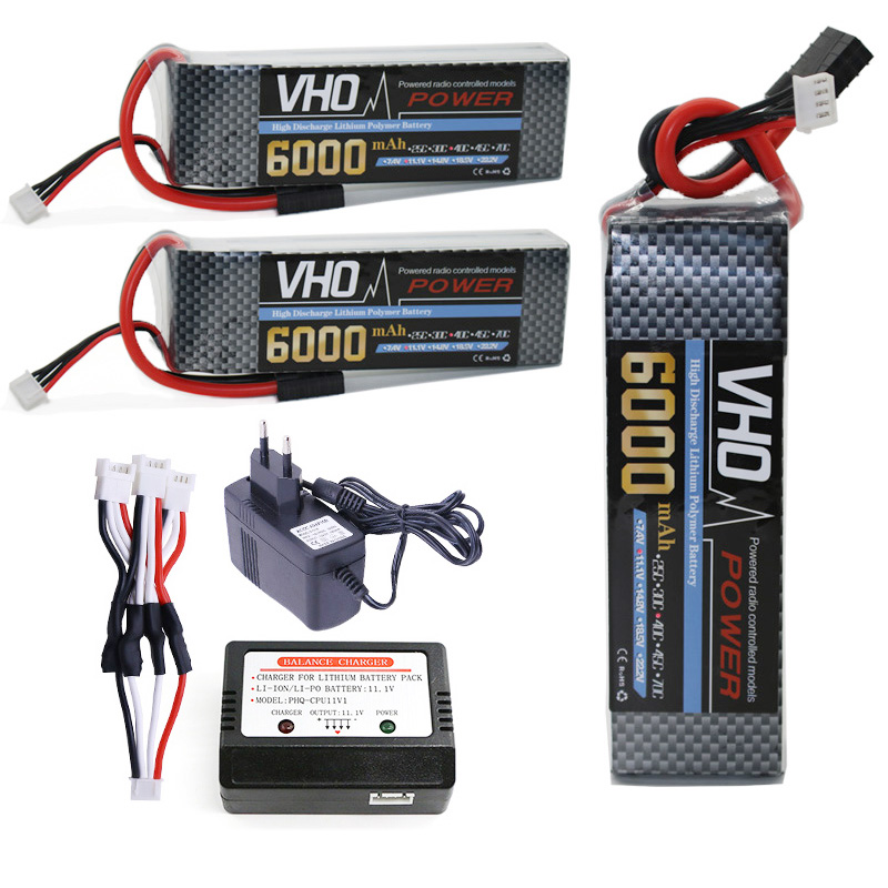 VHO 3S RC drone lipo battery 11.1v 6000mAh 40C 3pcs and EU charger For RC Airplane Helicopter Truck Car AKKU Free shipping 3pcs 3 7v 900mah li po battery 3 in 1 black us regulation charger and charging cable for rc xs809 xs809hc xs809hw drone