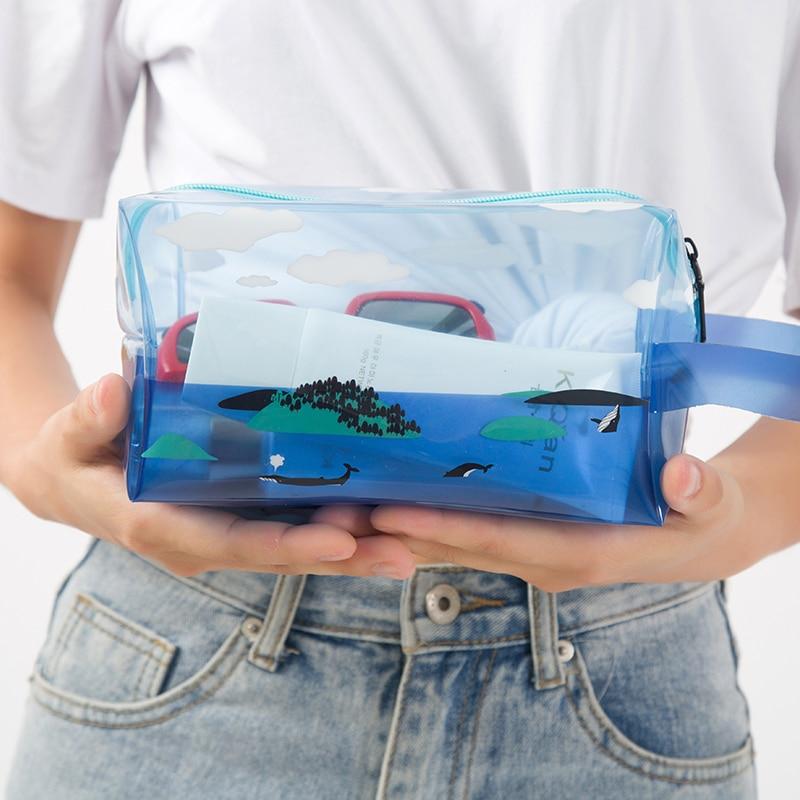 Cloud animal dophin shark transparent women travel large cosmetic bag for makeup pvc waterproof makeup storage case pouch автоматическая кормушка для рыб jianrong dophin dophin af 007