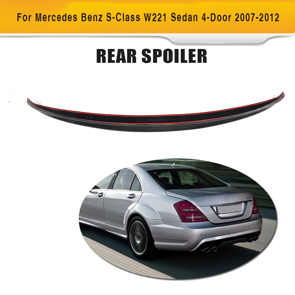 S Class Carbon fiber Rear Trunk Spoiler Wing for Mercedes Benz W221 Sedan 4 Door Only 07-12 S400 S450 S500 S550 S600 S63 AMG for mercedes benz cla class w117 cla180 cla200 cla250 cla45 amg carbon fiber front lip splitter flap canard fits sporty car amg
