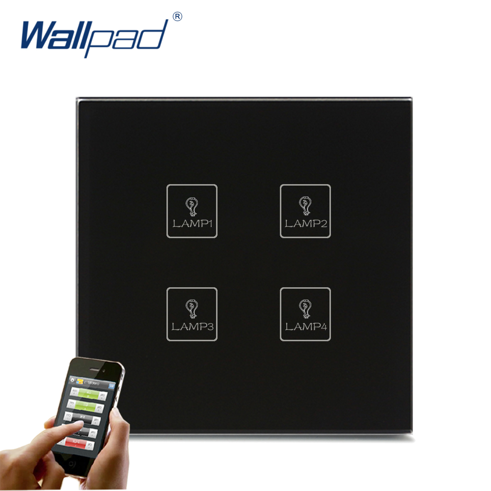 Wireless Android/IOS WIFI 4 Gang Swith Wallpad Black Crystal Glass Switch LED WIFI 4 Gang Remote Controlled Touch Light Switch 118 us norm 1 gang crystal glass black wifi light switch wallpad wireless remote control wall touch light switch free shipping