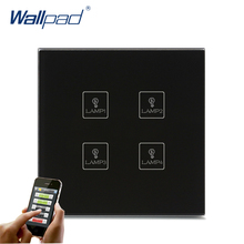 Android/IOS WIFI 4 Gang Swith Wallpad Black Crystal Glass Switch LED WIFI 4 Gang 2/3 Way Remote Controlled Touch Light Switch недорого