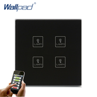 Wireless Android/IOS WIFI 4 Gang Swith Wallpad Black Crystal Glass Switch LED WIFI 4 Gang Remote Controlled Touch Light Switch
