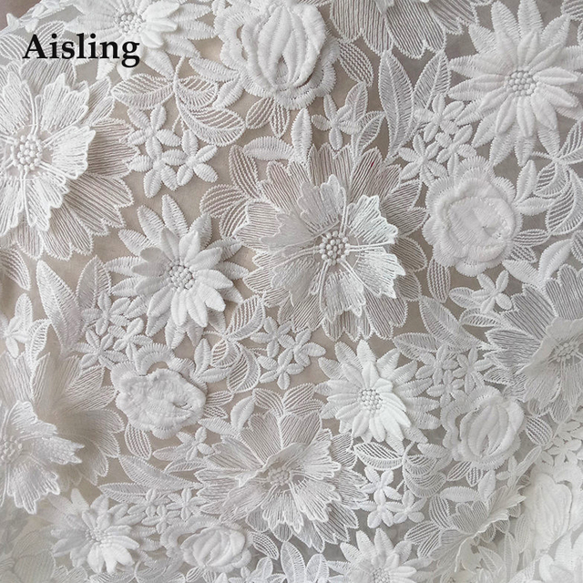 High Quality 3d Milk Silk Fabric Off White Lace Fabric French Flower