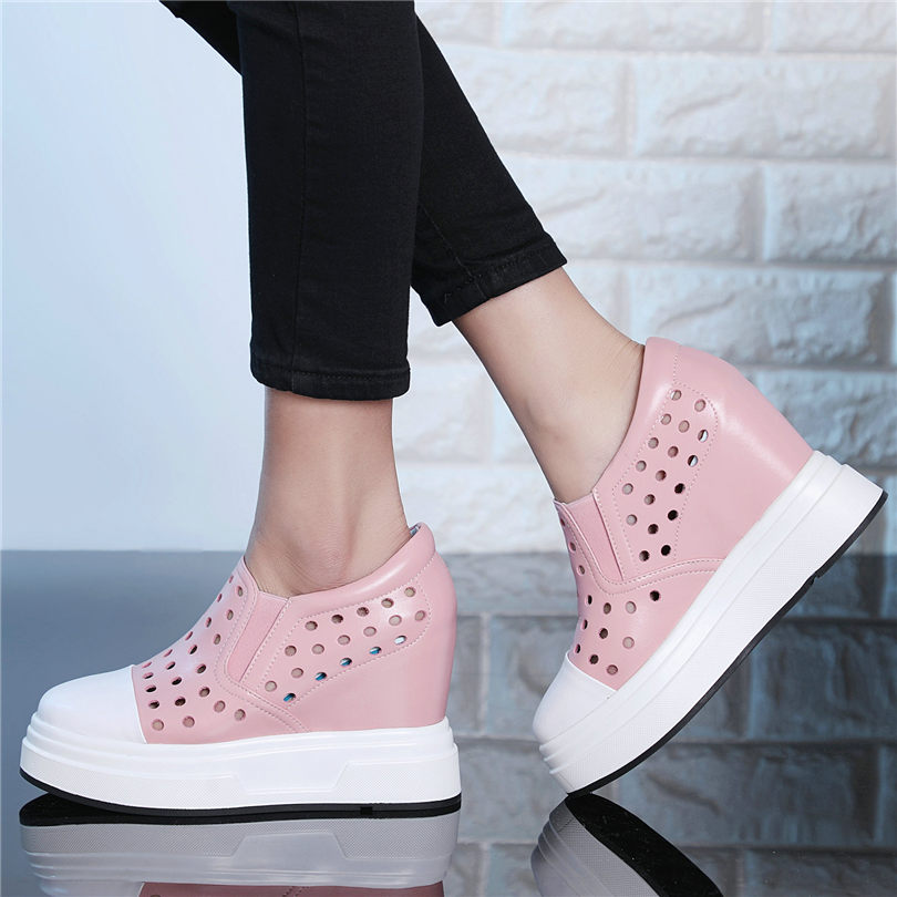 Women Cow Leather Sport Sandals Platform Wedge Fashion Sneaker Slippers Mesh NEW