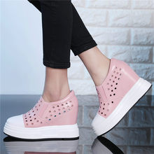 Goth Sandals Punk Creepers Women Tennis Shoes Cow Leather High Heel Pumps Wedges Platform Summer Sneakers Breathable Trainers