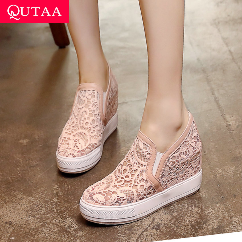 QUTAA 2019 Women Shoes Wedges High Heel Mesh Gauze Breathable Platform Round Toe Height Increasing Ladies Single Shoes Size34-43QUTAA 2019 Women Shoes Wedges High Heel Mesh Gauze Breathable Platform Round Toe Height Increasing Ladies Single Shoes Size34-43