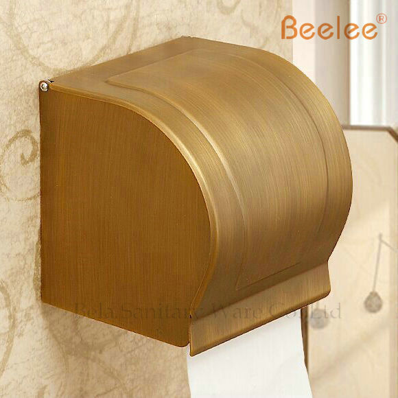Free Shipping Wholesale and Retail Wall Mount Antique Brass 100 brass Toilet Roll Paper Box Paper