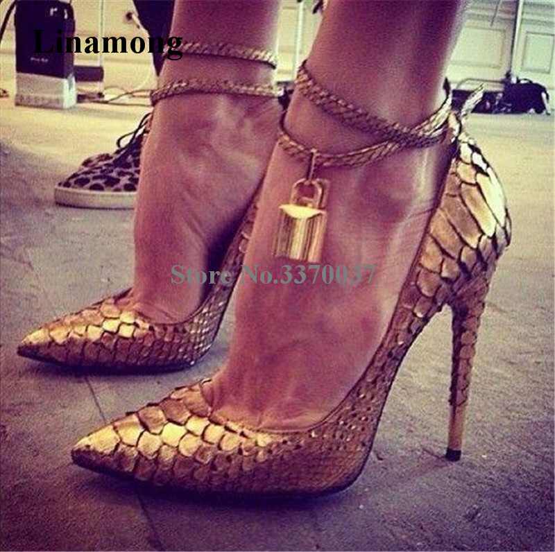 Hot Selling Women Fashion Pointed Toe Gold Lock Thin Heel Pumps Ankle Straps Super High Heels Formal Dress Shoes Wedding ShoesHot Selling Women Fashion Pointed Toe Gold Lock Thin Heel Pumps Ankle Straps Super High Heels Formal Dress Shoes Wedding Shoes