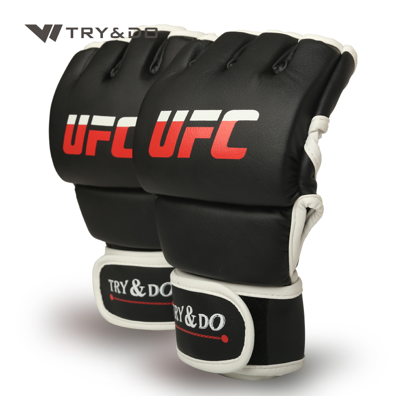 black MMA Muay Thai Grappling Training Sparring Half Mitts Gloves Combat gloves leather MMA gloves gloves boxing gloves bessky® cool mma muay thai training punching bag half mitts sparring boxing gloves gym