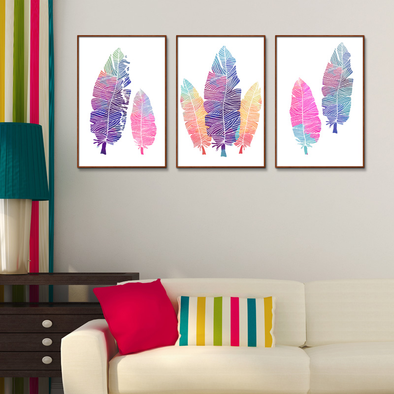 Feather Still life Childrens room A living room print Frameless Oil Painting Canvas Unframed Spray design Hot Selling gift