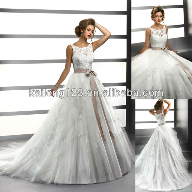 fb50f0bd6 Fairytale Ball Gown Court Train Lace Bodice Illusion Bateau Neckline Ribbon  Belt Zipper Buttons Back Tulle Wedding Dress