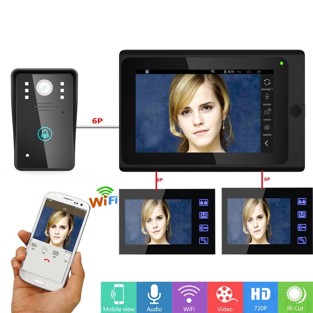 YobangSecurity APP Remote Control Video Intercom 3x 7 Inch Monitor Wifi Wireless Video Door Phone Doorbell Entry Intercom System door wireless with monitor