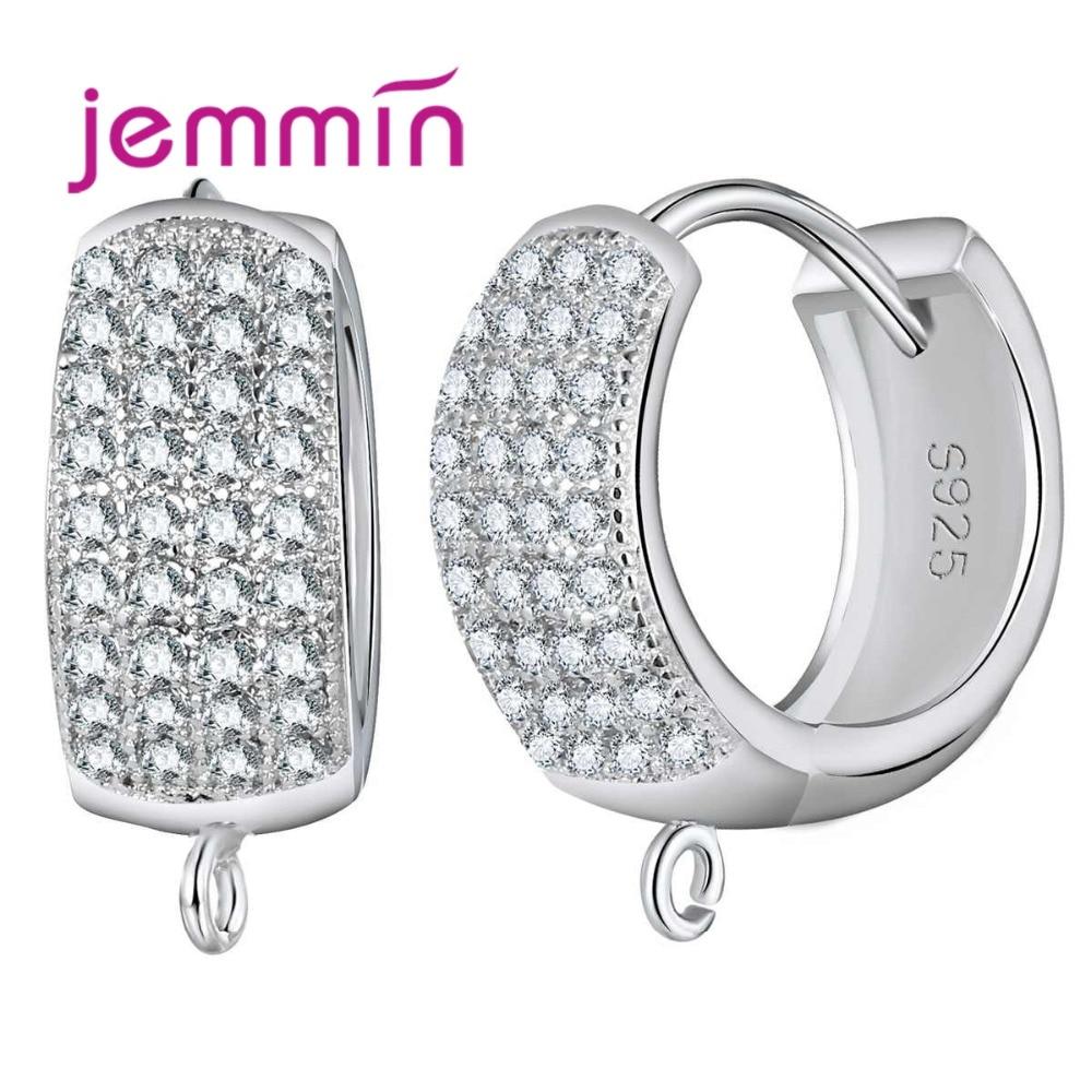 Jemmin 10 Pcs Classic Female Hoop Earrings Vintage Original 925 Sterling Silver Earrings Components For DIY Making Jewelry