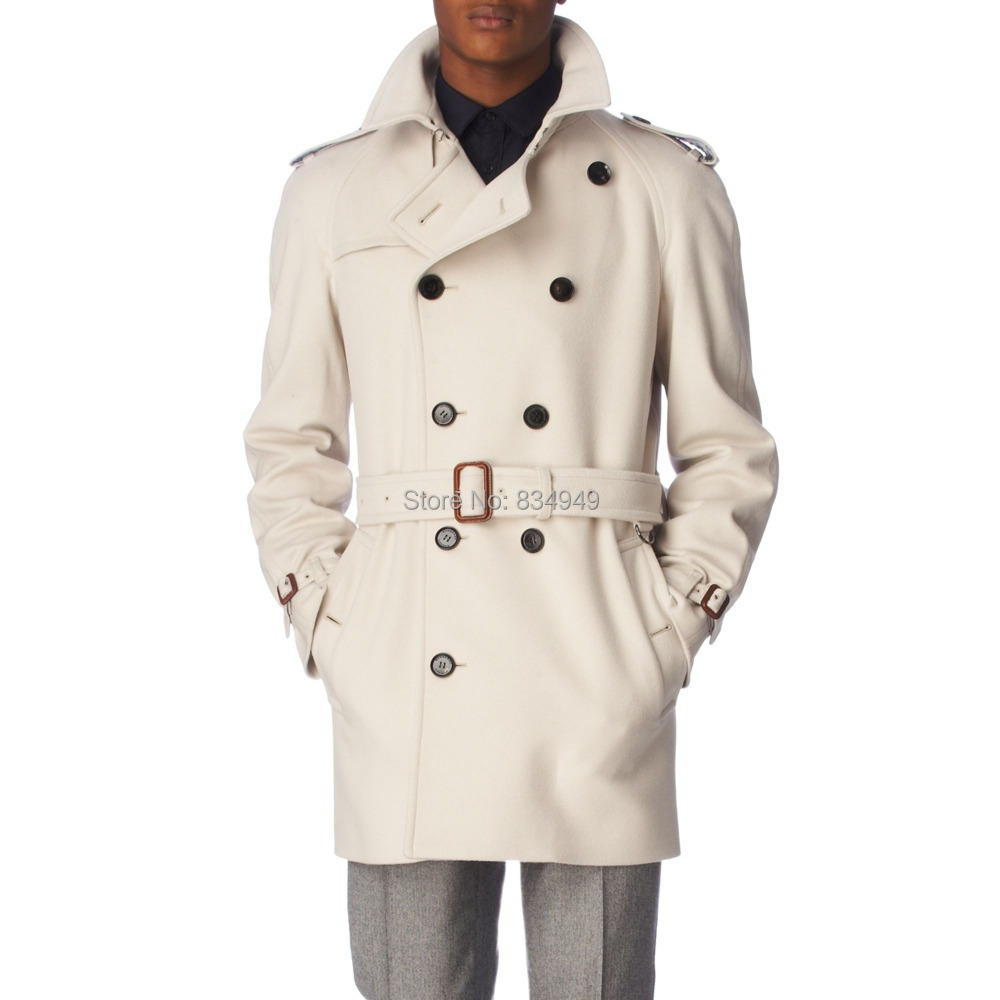 Aliexpress.com : Buy Custom Made Ivory White Trench Coat Men ...