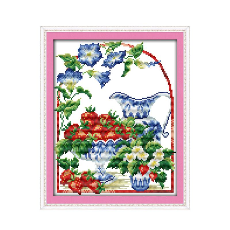 Small beautiful flowers strawberry fruit handmade materials package cross stitch suite Chinese characteristics wholesale map
