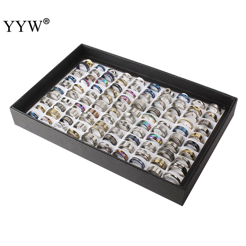 Wholesale 100PCs Mixed Styles Men's Womens Finger Ring Stainless Steel Jewelry Rings Silver Color US Size:5.5-10 Anillo De Dedo(China)
