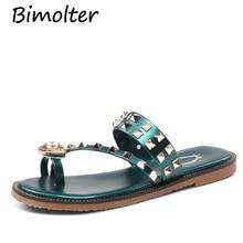 цены Bimolter Shoes Women Sandals Fashion Flip Flops Summer Flats Crystal shoes Diamond rivets Slippers Sandal Flat tongs fem NB123