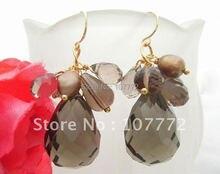 Pearl & Smoky Quartz pendiente-925 plateado de oro gancho libre + shippment