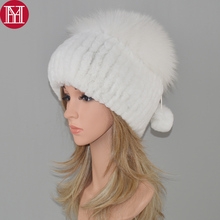 lady new style luxury winter genuine real rex rabbit fur hat