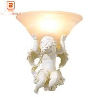 BLUBBLE Modern Ceramic LED Wall Lamps Art Deco White Angel Bedside Wandlamp 110V/220V 240V E27 Stair Light Bedroom Wall Sconce