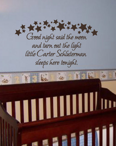 Family Stickers Custom Baby Name Quote Goodnight Nursery Wall Decal Decor & Family Stickers Custom Baby Name Quote Goodnight Nursery Wall Decal ...