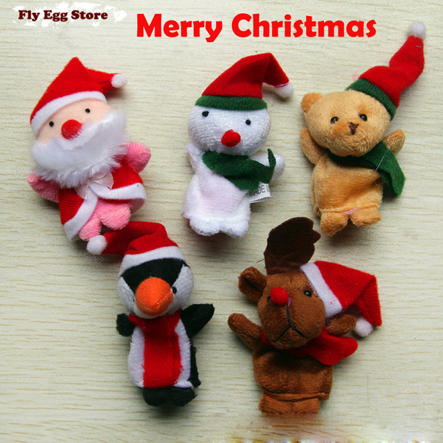 5 pcs Christmas gift  finger puppet Santa Claus and his friend Snowman elk penguin bear with red hat Merry Christmas hand puppet