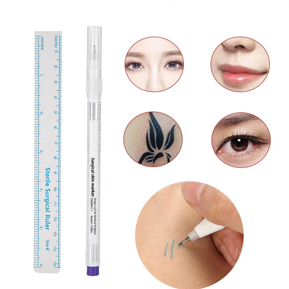Image 2 - 1Set Sterilized Tattoo Marker Pen Surgical Skin Microblading Positioning Tool with Measuring Ruler Permanent Makeup Accessories-in Tattoo accesories from Beauty & Health