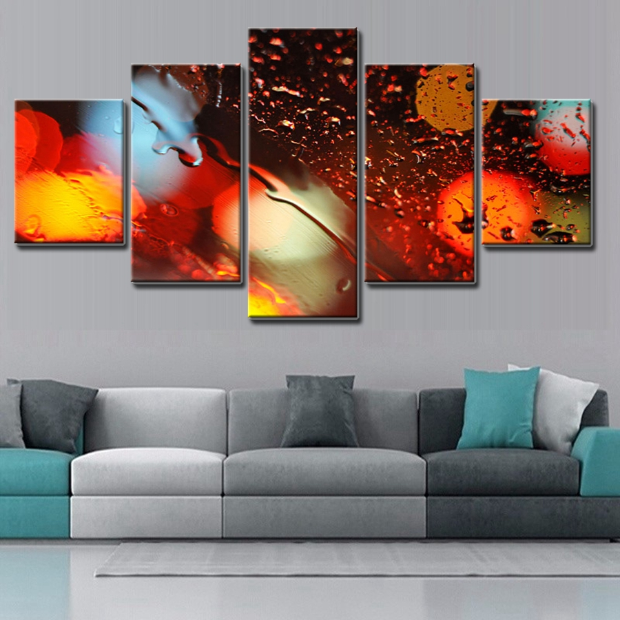 New Sale Rain Light Fashion Home Decor Wall Art The Neon Lights Oil  Painting Canvas 5 PCS No Frame Wholesale And Customized In Painting U0026  Calligraphy From ...