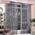 Estilo europeu translúcido cinza tule cortinas para sala de estar cozinha quarto Cortinas de tule cortinas de janela Feitos Sob Encomenda