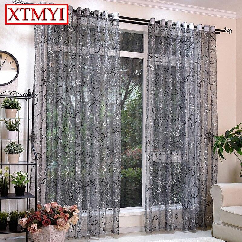 Europäischen stil grau bestickt tüll vorhänge für wohnzimmer ...