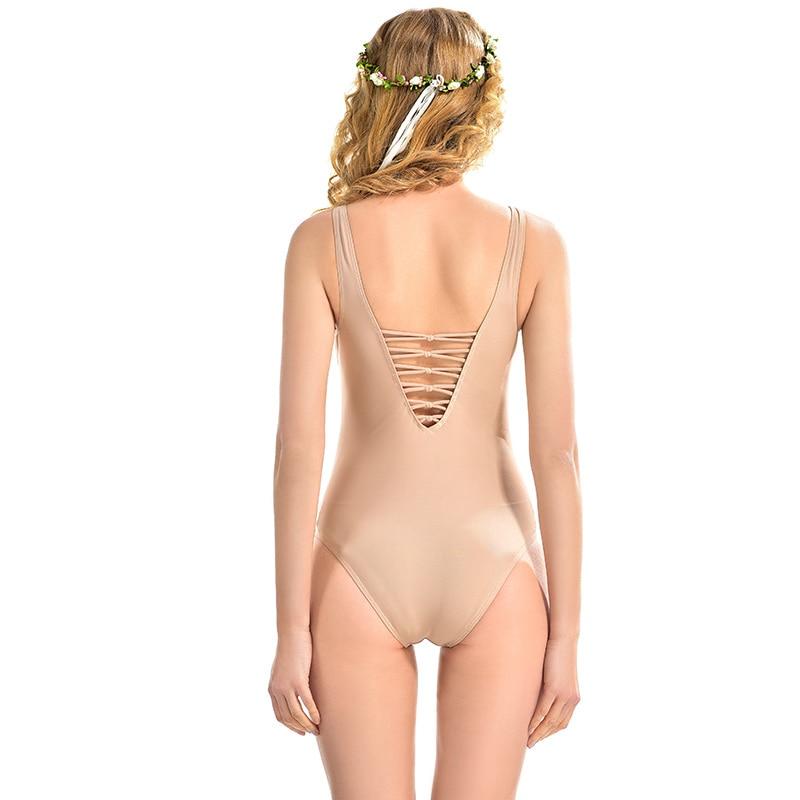 LYSEACIA Nude Color Monokini Swimsuit Sexy One Piece Swimwear for Women Swim Wear Vintage Bandage V Neck Slim Bathing Beach Wear