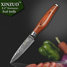 2016 XINZUO 73 layers 3.5″ paring knife Japanese Damascus steel kitchen knife fruit knife with Color wood handle free shipping