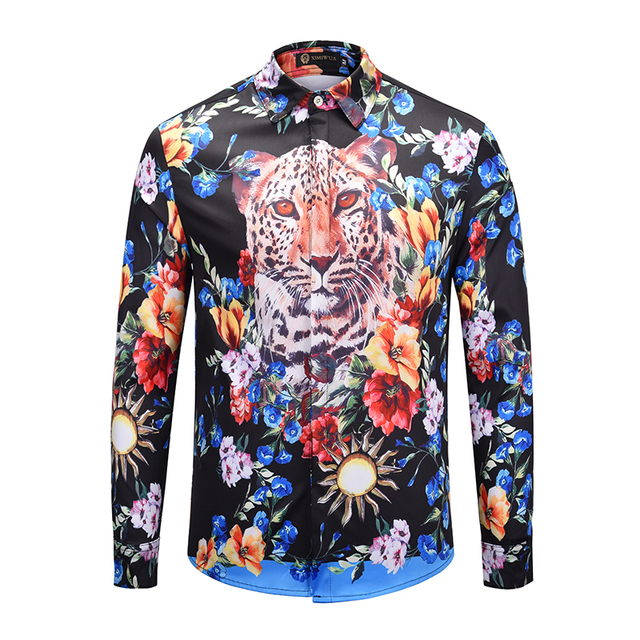 87d97447 2019 Newest Style Men Clothes Men's Fashion Dress Shirt Floral 3d Print Hawaiian  Shirt Long Sleeve