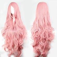 QP różowe włosy peruki syntetyczne objętość powietrza wysoka temperatura miękkie włosy jedwabne włosy hurtowo długie kręcone Big Wave włosy peruka Cosplay