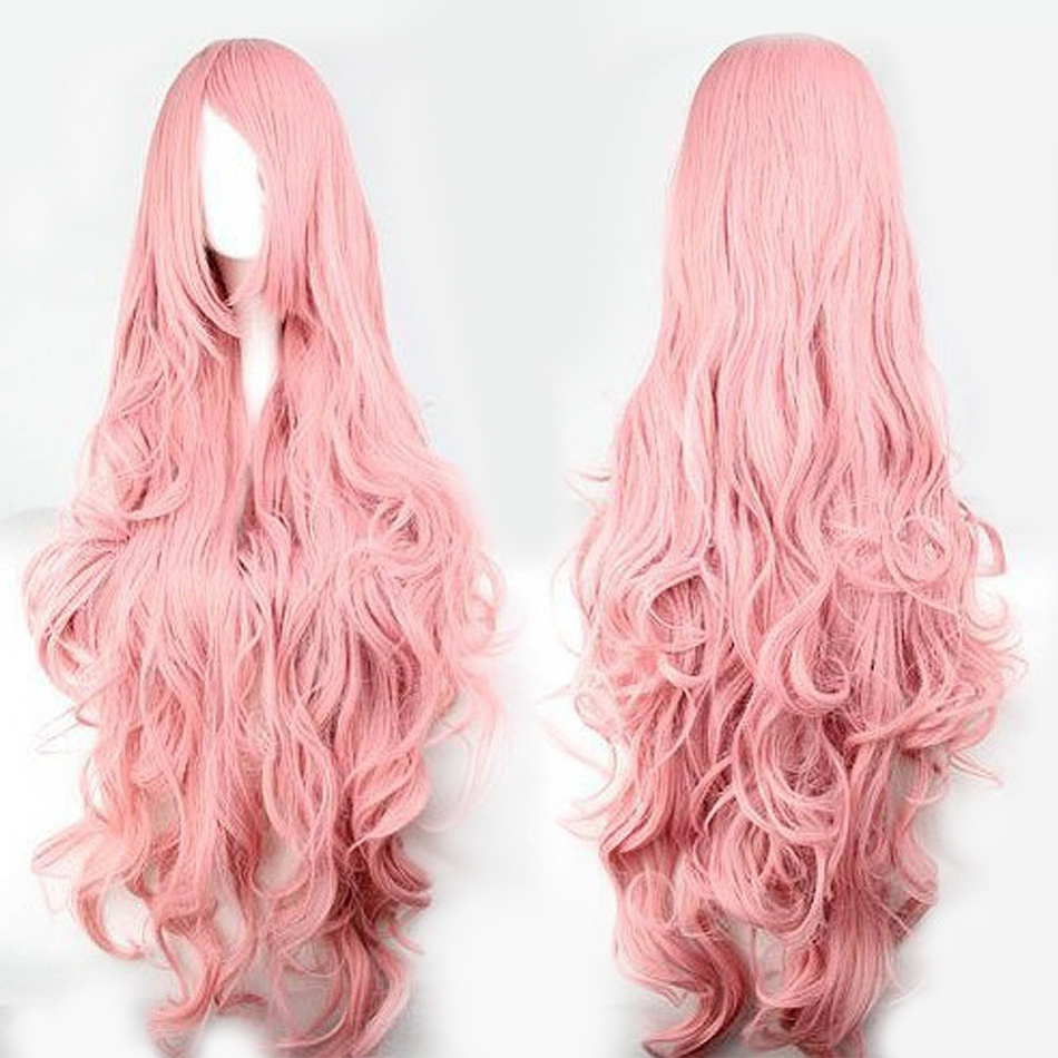 QP Pink Hair Synthetic Wigs Air Volume High Temperature Soft Hair Silk Bulk Hair Long Curly Big Wave Hair Wig Cosplay
