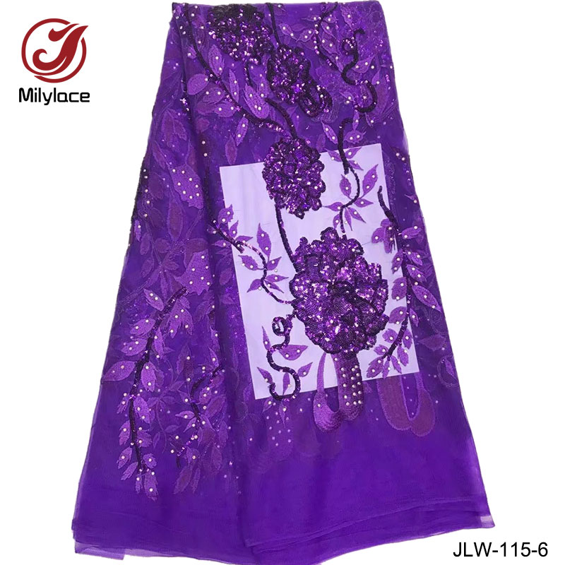 Wedding Gown Fabrics Guide: Purple Sequined Lace Fabric Guangzhou Bridal Tulle Lace