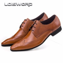 Large size EUR45 Breathable pointed toe oxfords mens dress shoes genuine leather business shoes mens