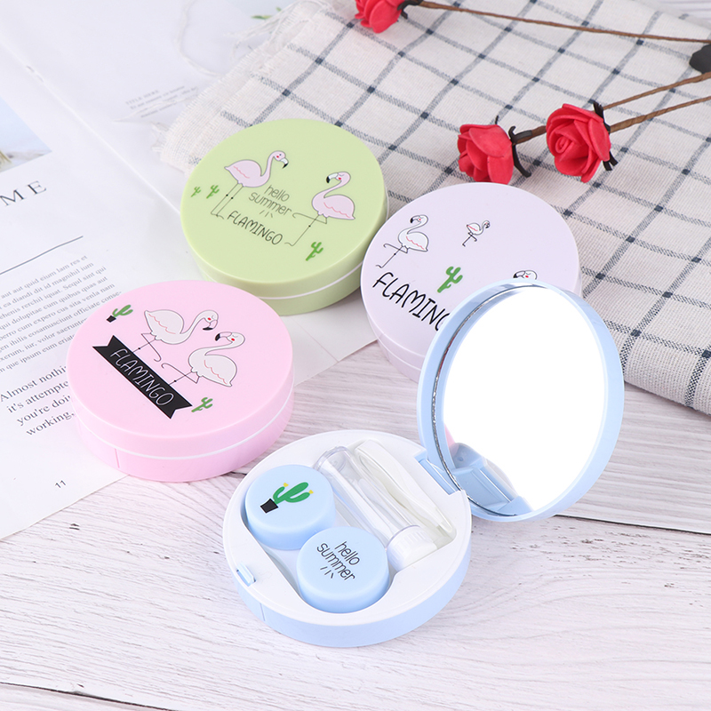 New Cartoon Contact Lenses Case For Lenses Container Contact Lens Box Lens Travel Mirror Travel Kit For Lenses Mignon