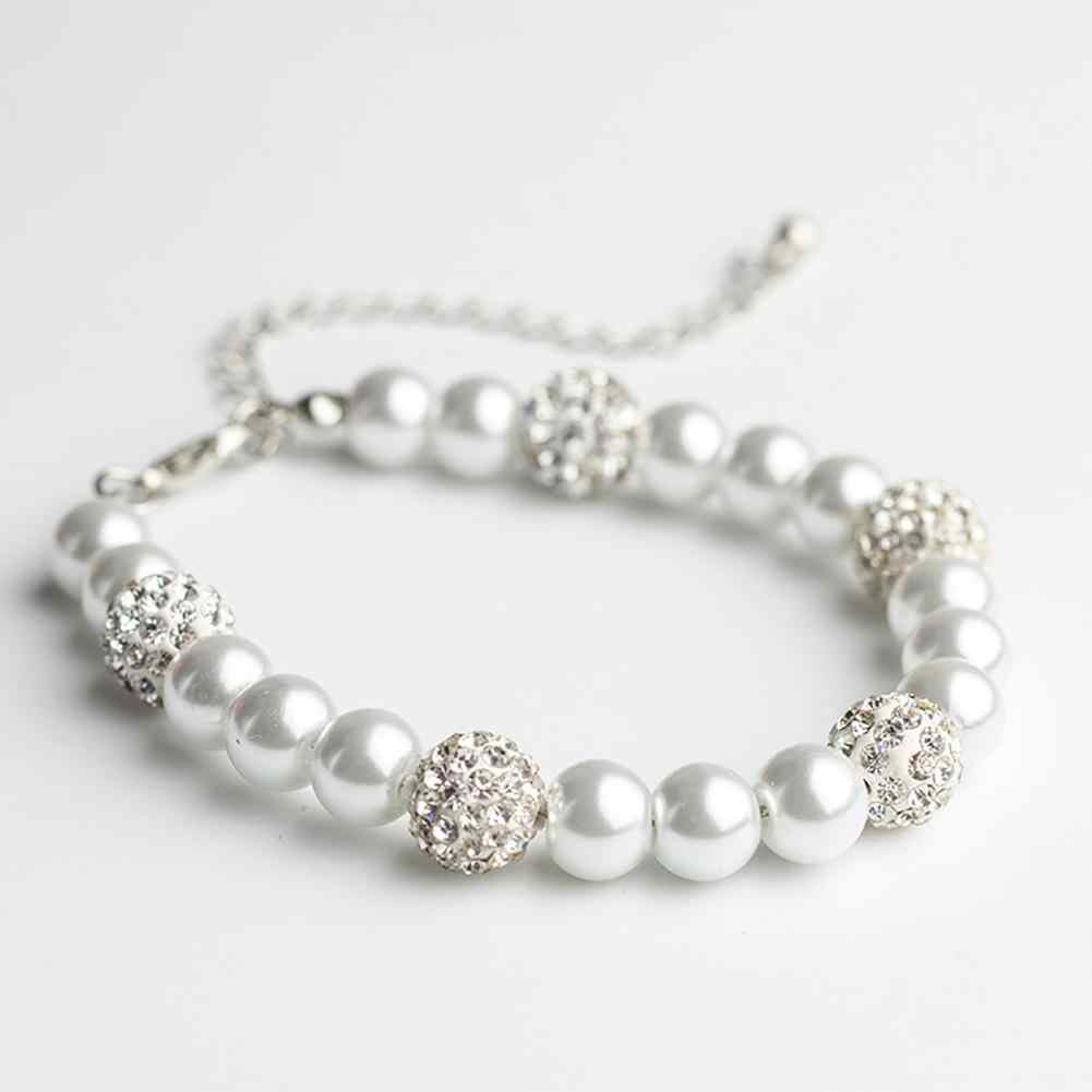 Fashion White Women Simple Glass Elegant Faux Pearl Rhinestone Inlaid Pendant Bracelet Wedding Party Jewelry Gift