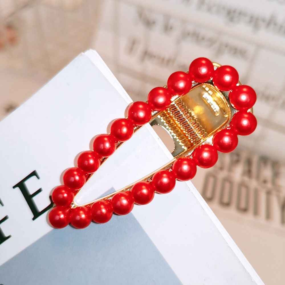 1 PC Elegan Desain Korea Merah Mutiara Rambut Klip untuk Wanita Snap Baret Jepit Rambut Styling Aksesoris