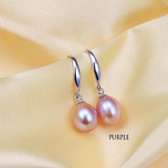 925 Sterling Silver Water Drop Earrings with Natural Freshwater Pearls