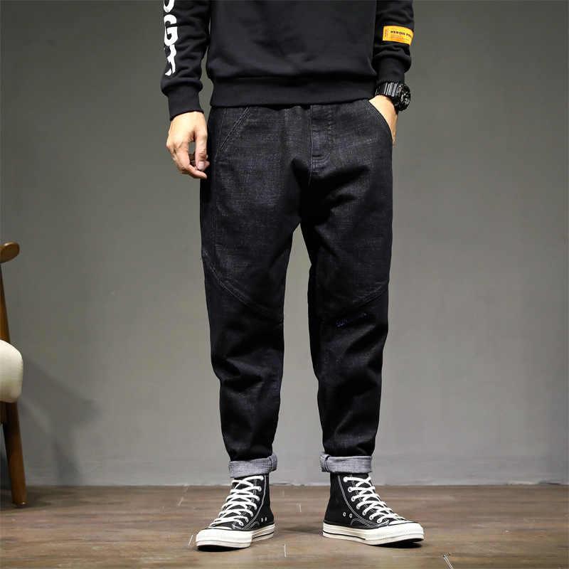 Модные уличные мужские джинсы в винтажном стиле; черные свободные брюки-шаровары; зауженные брюки; hombre; дизайн с вышивкой; джинсы в стиле хип-хоп