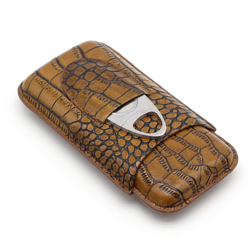 32d5ddf3a36c Portable Crocodile Embossed Grain Pattern Real Leather Cigar Case Holder 3  Tubes Mini Travel Humidor w/ Metal Cutter