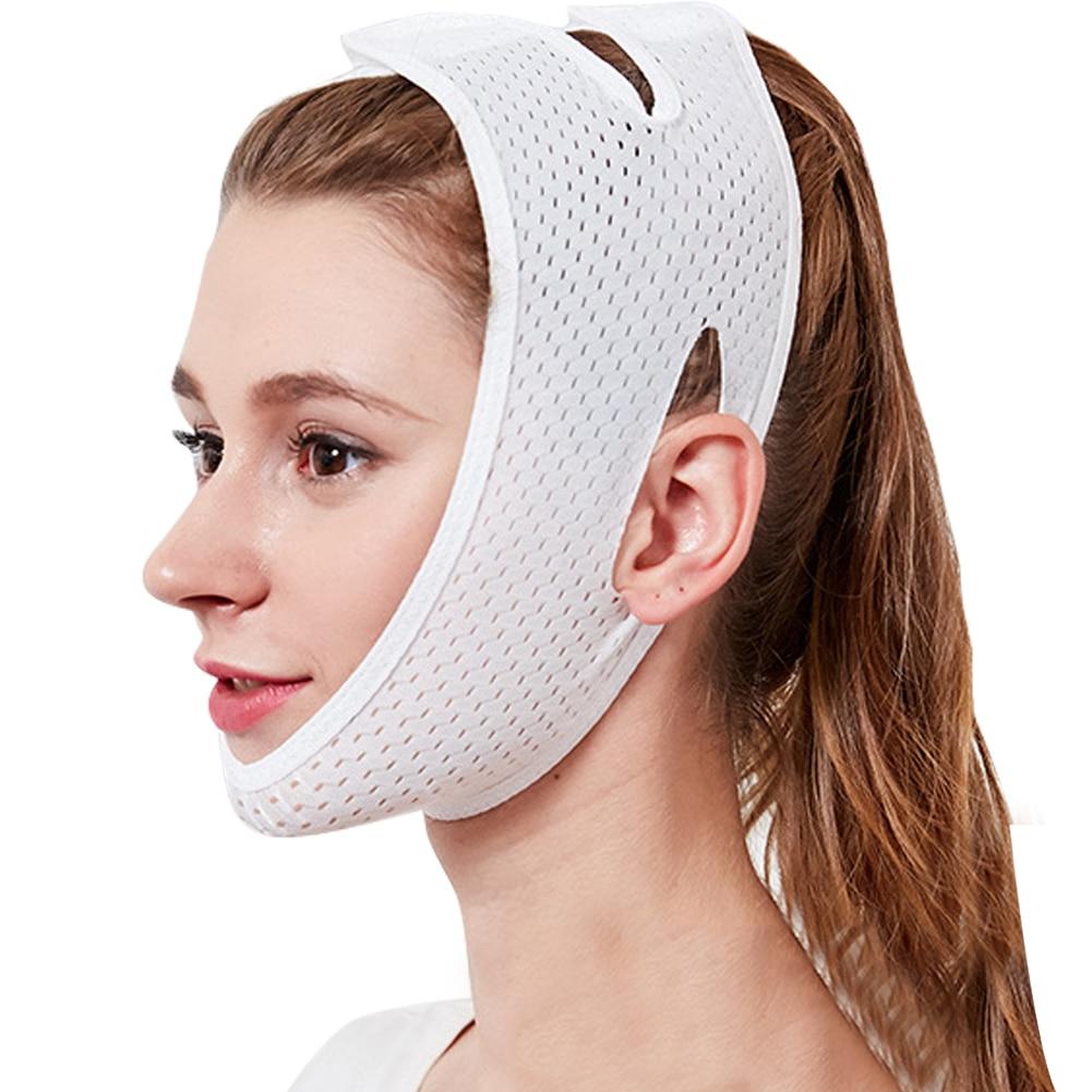 1 шт. инструменты для подтяжки лица, забота о здоровье, подбородок, щек, красота, пояс для похудения, v-образная линия, маска для подтяжки лица, бандажный массажер, один размер - Цвет: Белый